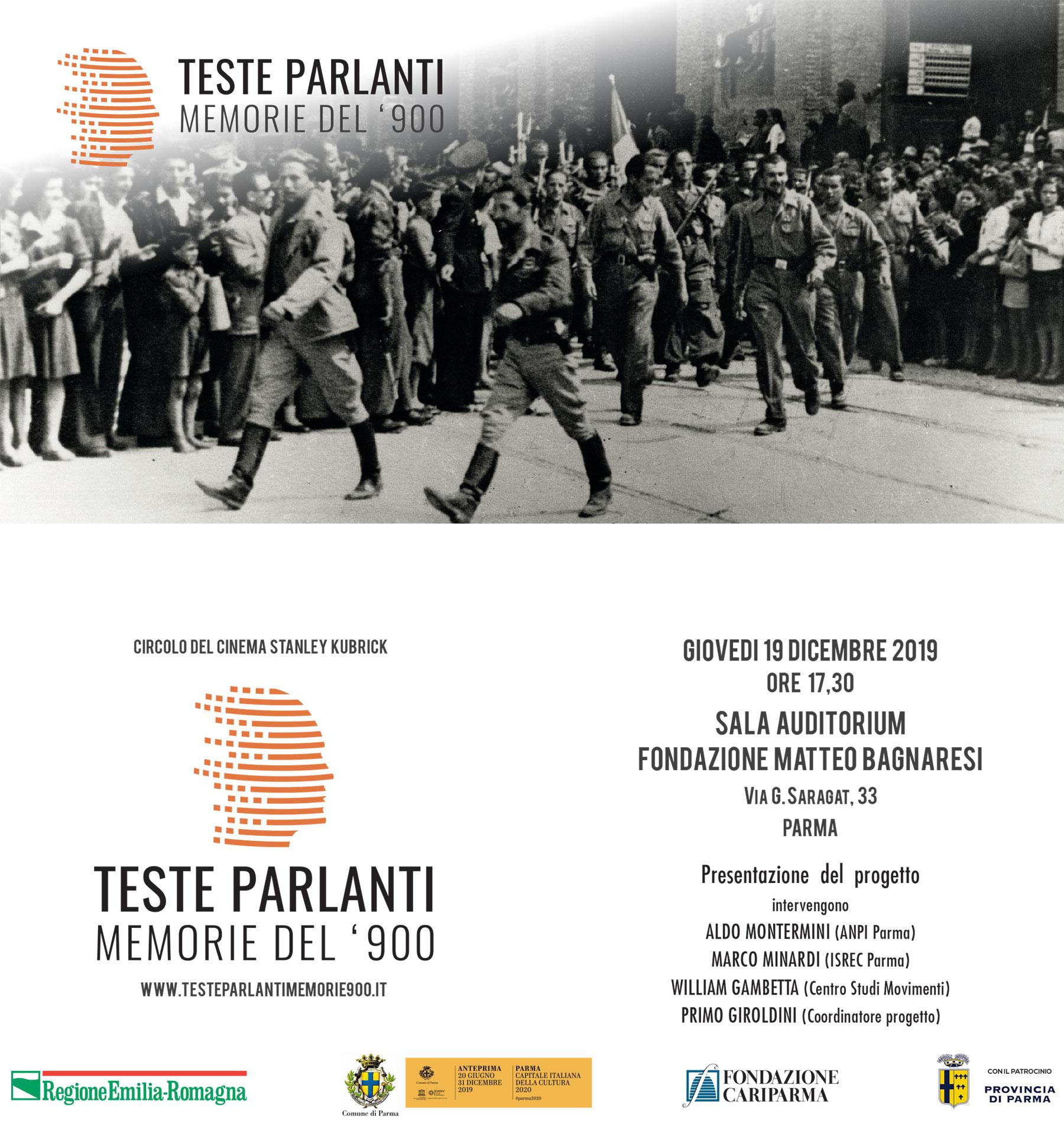 Presentazione del progetto Teste Parlanti – Giovedì 19 Dicembre
