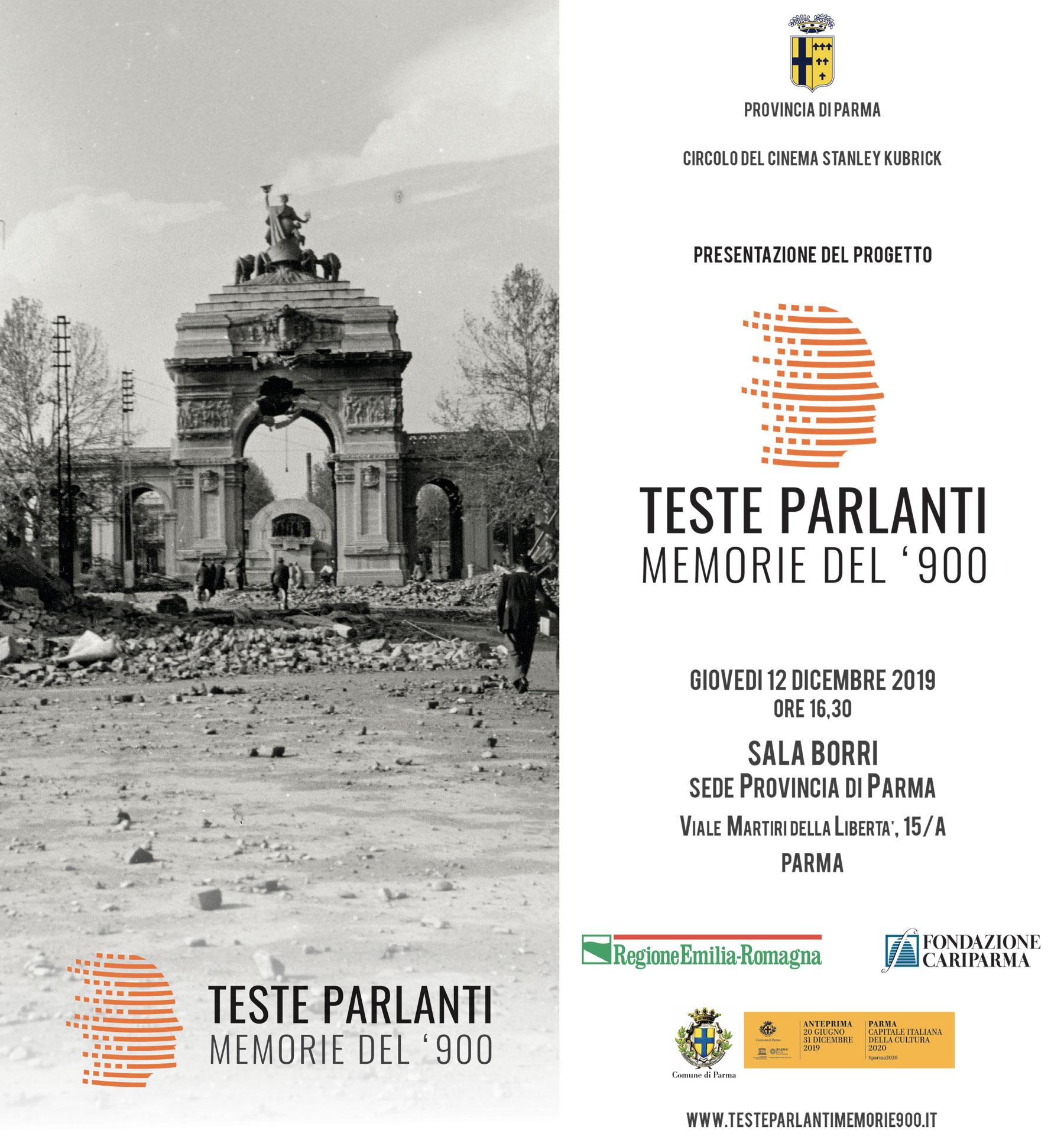 Presentazione del progetto Teste Parlanti – Giovedì 12 Dicembre
